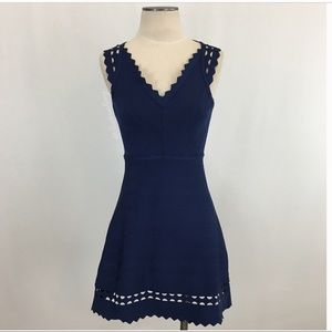 Bandage body con A-Line flare navy cut out dress